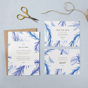 Hand Painted Leaf Wedding Invites - invitations