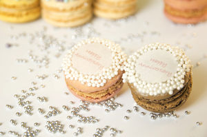 100 Happy Anniversary French Macarons - wedding favours