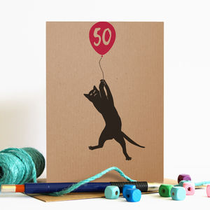 Any Age Balloon Birthday Card With Cat