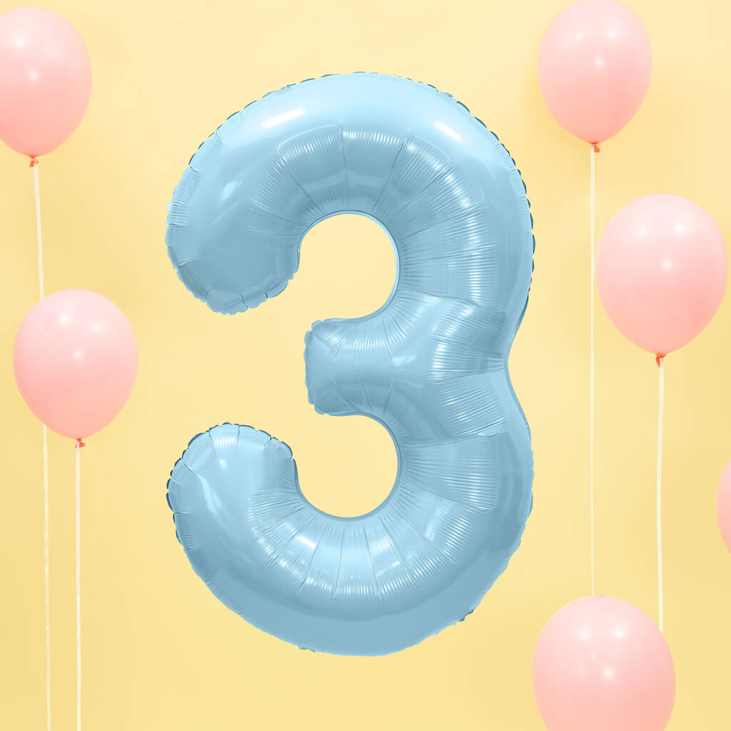 Blue Any Age Foil Number Birthday Balloon By Postbox Party