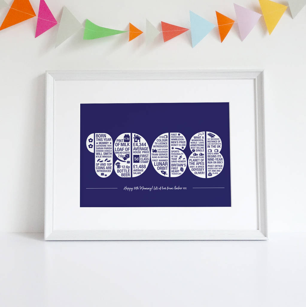 personalised 50th birthday print by intwine design ...