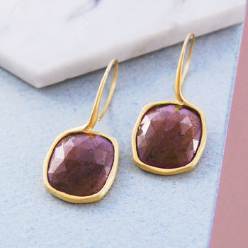 Gold Sapphire Square Birthstone Statement Drop Earrings