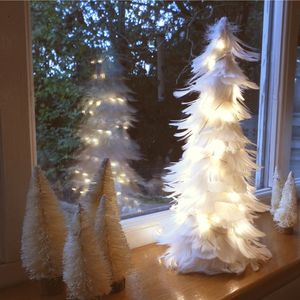 White Christmas Tree And Lights Table Decoration - snow globes & ornaments