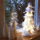 White Christmas Tree And Lights Table Decoration
