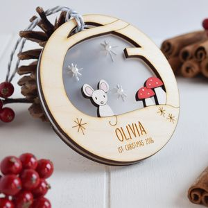 Personalised Baby's First Christmas Mouse Bauble - baubles & hanging decorations