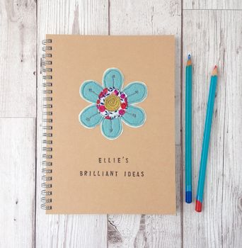 Personalised, Sewn Flower, Brilliant Ideas Notebook