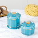Turquoise Glass Trinket Jar With Gold Detail