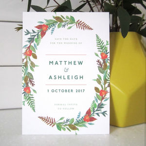 Autumn Wreath Save The Date Card - wedding stationery