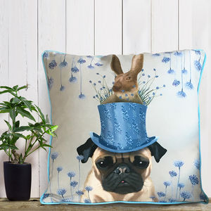 Pug Cushion, The Milliners Dogs - bedroom