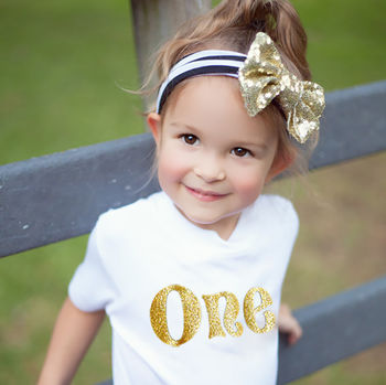 Personalised Birthday Baby Toddler Gold Glitter T Shirt