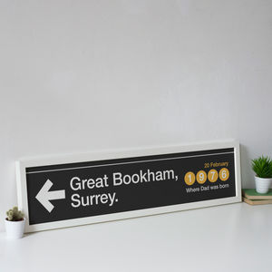 Personalised Subway Sign Destination Location Print - typography