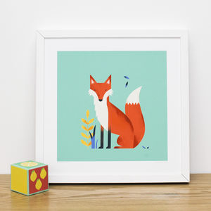Woodland Animal Art Prints: Rabbit, Fox Or Bear - children's room