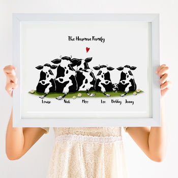 Personalised Cow Family Print