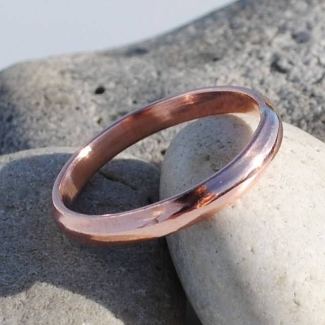 9ct rose gold d shape wedding ring - Rose Shaped Wedding Ring