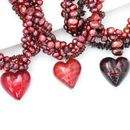 Murano Heart And Pearl Necklaces In Red