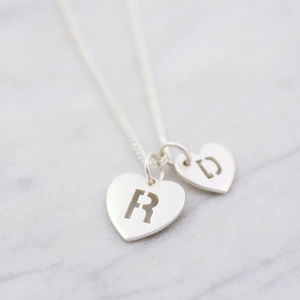 Large And Small Pierced Heart Necklace