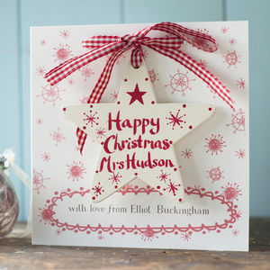 Cream Personalised First Christmas Star On A Card - christmas cards