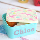Personalised Flamingo Print Mini Lunch Box