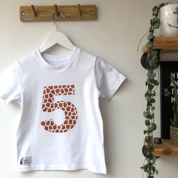 Kids Animal Print Birthday Number White T Shirt