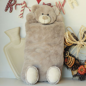 Teddy Hot Water Bottle Cover Optional Personalisation - bedding & accessories