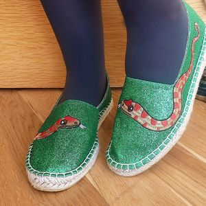 Green Glitter Snake Espadrilles - shoes