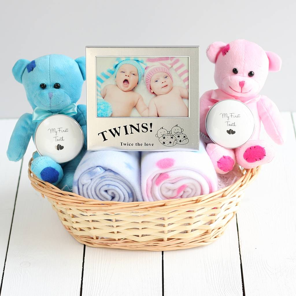 Baby Gift Ideas Twins : Double deluxe twin new baby gift basket by snuggle feet