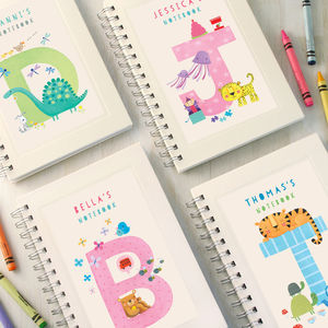 Personalised Kids Alphabet Notebook Choose Any Letter - stocking fillers