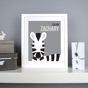 Personalised Zebra Nursery Print