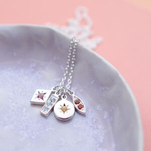 Sentimental Birthstone Charm Cluster Necklace