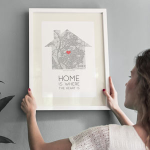 'Home Is Where The Heart Is' Map Print - family & home