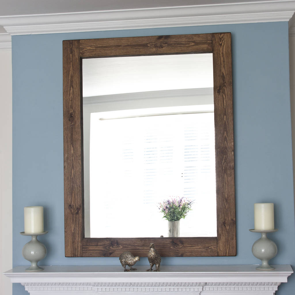 Altan small wooden framed mirror in dark white wood by for White framed decorative mirror