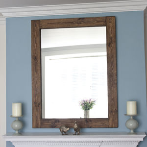 Altan Small Wooden Framed Mirror In Dark/ White Wood - mirrors