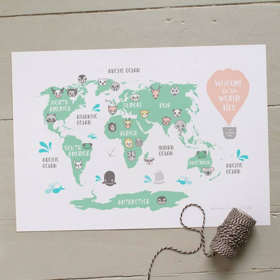 Personalised new baby or kids world map print by small dots personalised world map with pink balloon gumiabroncs Image collections