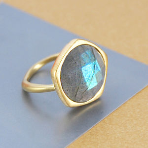 Genuine Labradorite Gold Gemstone Ring - women's jewellery