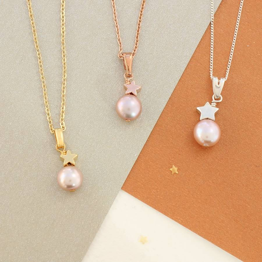 Mini single pearl pendant with silver or gold star by bish bosh mini single pearl pendant with silver or gold star mozeypictures Choice Image