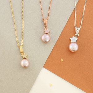 Mini Single Pearl Pendant With Silver Or Gold Star