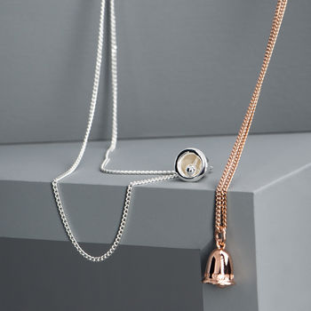 Rose Gold Silver Bells Necklace