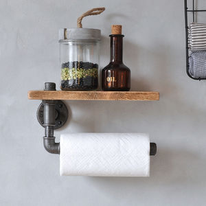 Industrial Kitchen Towel Holder And Shelf - shelves
