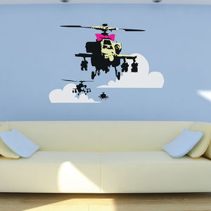 Banksy Apache Helicopter Wall Stickers