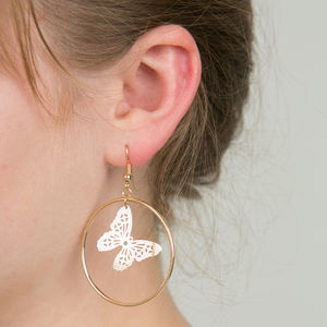 Butterfly Hoop Earrings - earrings