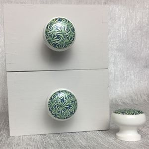 Midnight Palm Print Door Drawer Cupboard Knobs - door knobs & handles