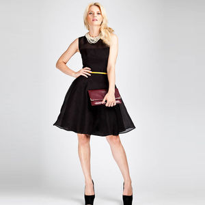 Sheer Panel Silk Organza Dress In Black