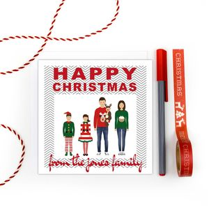 Personalised Family Christmas Cards Pack 'Chevrons' - new in christmas