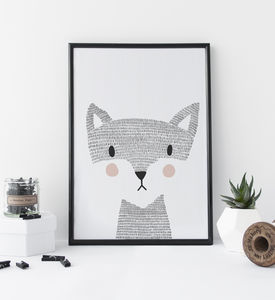 Nursery Print Woodland Fox