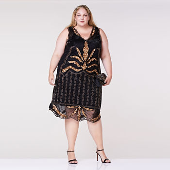 Plus Size Elsa Black Gold Embellished Dress