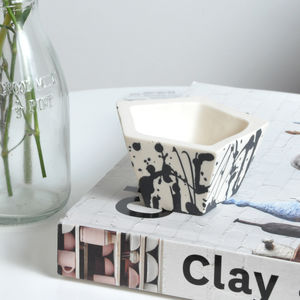Mini Geometric Splatter Porcelain Planter - living room