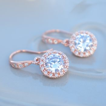 Rose Gold Round Pave Drop Earrings