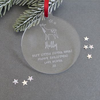 Little Sister Personalised Christmas Bauble Decoration