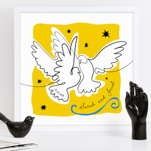 Personalised Matisse Doves Cut Out Drawing - modern graphic art