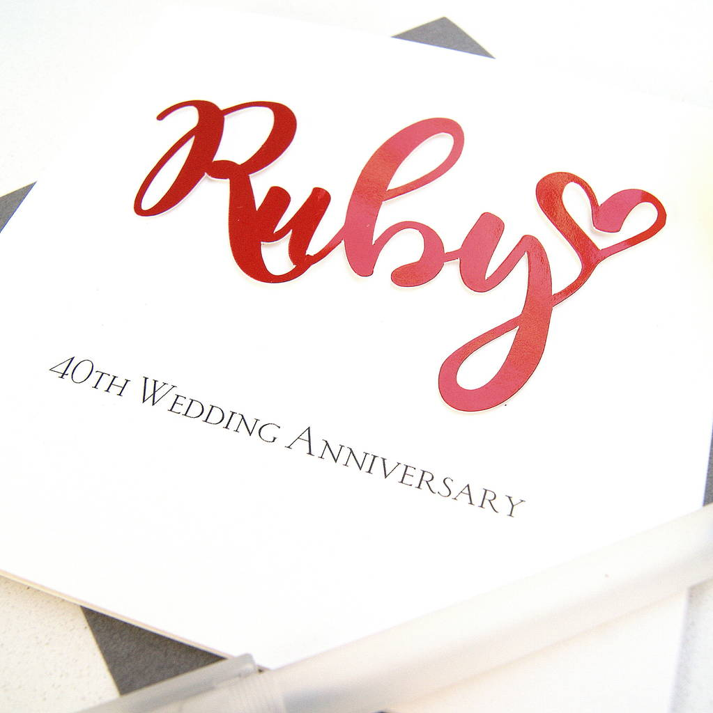 Ruby 40th Wedding Anniversary Card